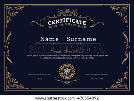 Certificate border diploma frame flourishes elegant stock vector certificate border diploma frame flourishes elegant vintage design vector template yadclub Choice Image
