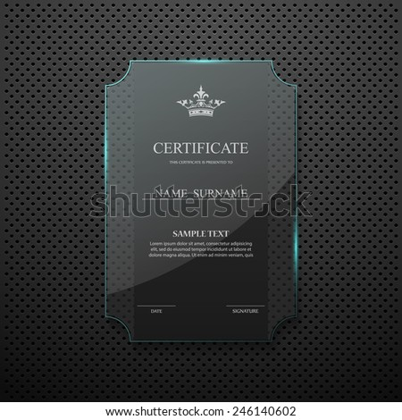 Certificate design template on glass frame - stock vector