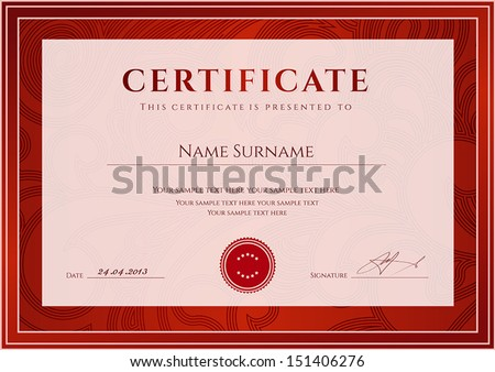 Certificate, Diploma of completion (design template, background). Floral (scroll, swirl) pattern (watermark), border, frame. Red Certificate of Achievement, Certificate of education, awards, winner - stock vector