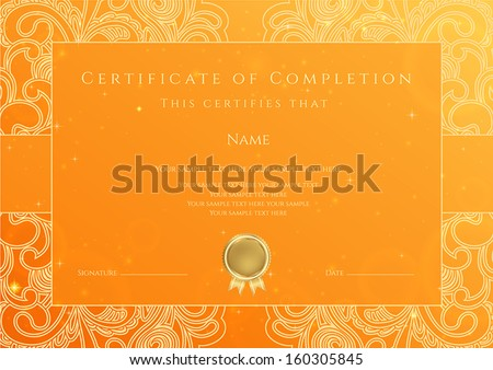 Certificate diploma completion design template background stock certificate diploma of completion design template background with gold floral swirl yadclub Images