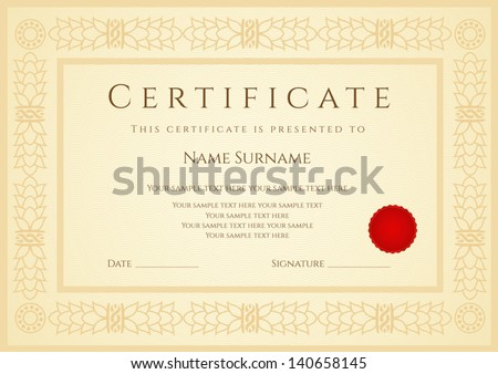 Certificate diploma completion design template sample stock photo certificate diploma of completion design template sample background with guilloche pattern yadclub Image collections