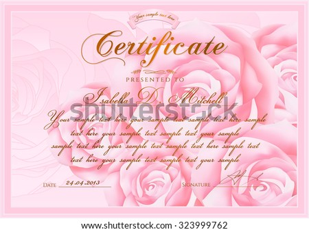 Certificate, Diploma of completion (Rose design template, flower background) with floral, pattern, border, frame. Certificate of Achievement, coupon, award, winner certificate, pink female gift card - stock vector