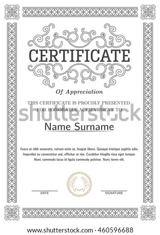 Certificate Diploma Completion Silver Design Template Stock Vector ...