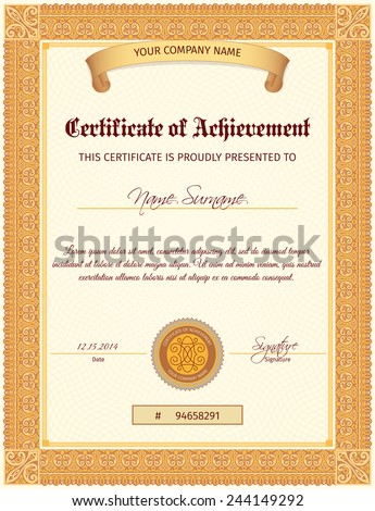 Certificate document of achievement vertical template with seal ribbon and elegant ornament vector illustration