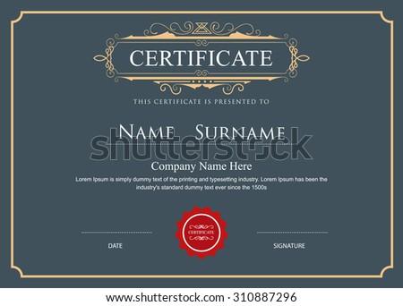 Certificate elegant flourishes vector border template - stock vector