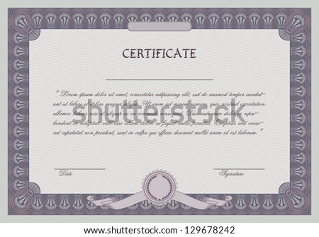 Certificate frame template. Retro style