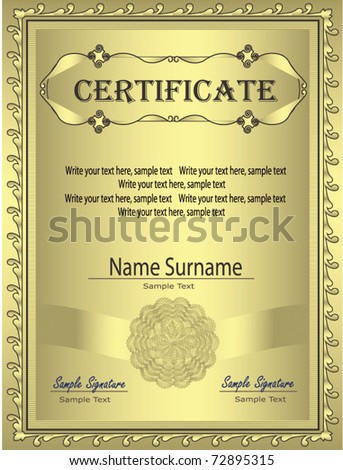Certificate Gold frame  vector template