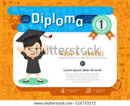Certificate kids diploma, kindergarten template layout background frame design vector. education preschool concept.