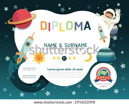 certificate kids diploma kindergarten template layout stock vector  certificate kids diploma kindergarten template layout space background frame design vector education preschool concept