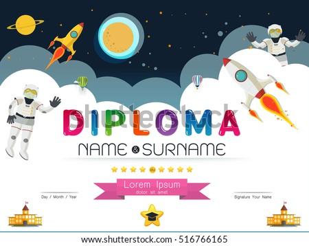 Certificate Kids Diploma Kindergarten Template Layout Stock ...