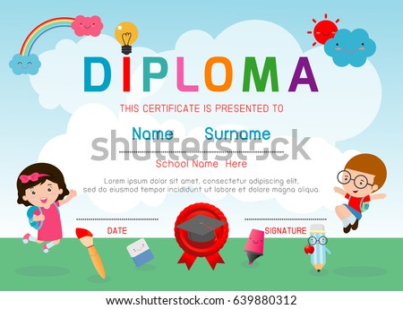 Certificate kids diploma kindergarten template layout stock vector certificate kids diploma kindergarten template layout space background frame design vector diploma template for yelopaper Image collections