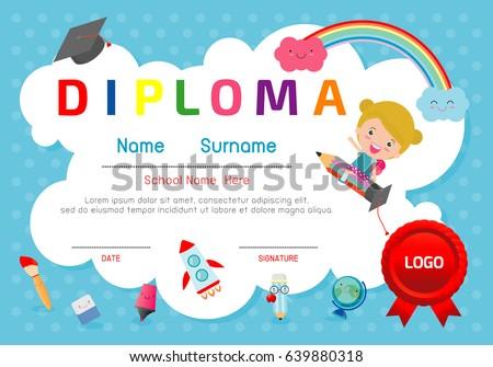 certificate kids diploma kindergarten template layoutのベクター画像