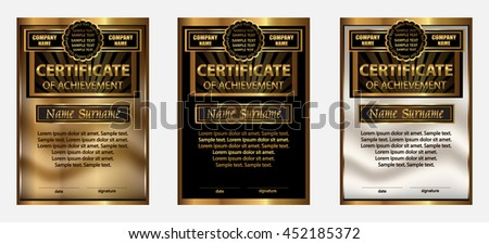 Certificate of achievement or diploma. Set gold. Reward. Winning the competition. Award winner. Vertical template. The text on separate layer. Vector illustration.