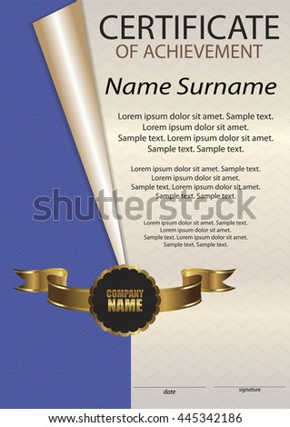 Certificate of achievement or diploma. Vertical template. Winning the competition. Reward. Award winner. The text on separate layers. Vector illustration.