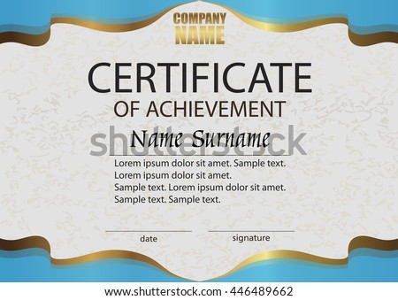Certificate of achievement. Reward. Winning the competition. Award winner. Horizontal blue with gold template. The text on separate layer. Vector illustration. - stock vector