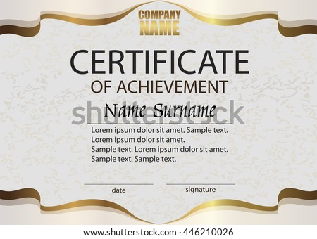Certificate Of Achievement. Reward. Winning The Competition. Award Winner.  Horizontal Elegant Beige  Certificate Winner
