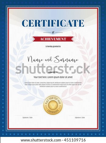 Certificate Achievement Template Red Border Red Stock