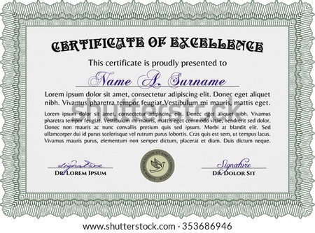 Certificate Achievement Vector Certificate Templatewith Linear ...