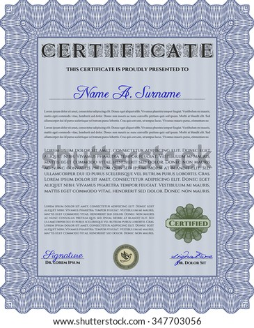 Certificate of achievement template. With background. Nice design. Frame certificate template Vector.