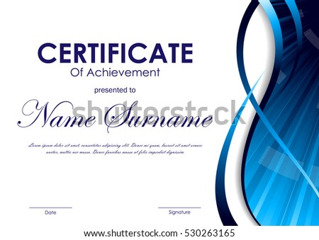 Certificate Achievement Template Blue Dynamic Wavy Stock Vector ...