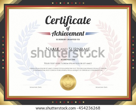 Certificate achievement template gold border theme stock vector certificate of achievement template with gold border theme and awarded wreath and star background yadclub Image collections