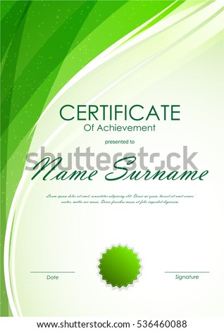 Certificate achievement template green dynamic light stock vector certificate of achievement template with green dynamic light wavy swirl background and seal vector illustration yadclub Gallery