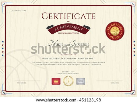 Certificate Achievement Template Wooden Texture Background Stock