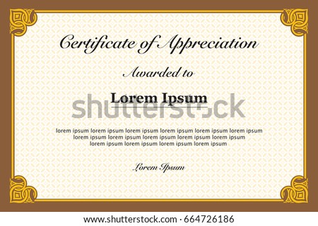 Certificate appreciation stock vector 665036800 shutterstock certificate of appreciation yadclub Images