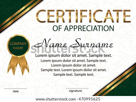 Certificate appreciation diploma elegant light background stock certificate of appreciation diploma elegant light background with gold and green areas horizontal yadclub Image collections
