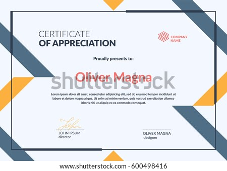 Certificate Appreciation Templatetrendy Geometric Design Layered