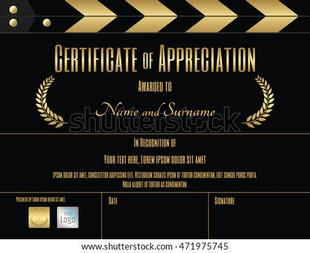 Certificate Appreciation Template Black Gold Movie Stock ...