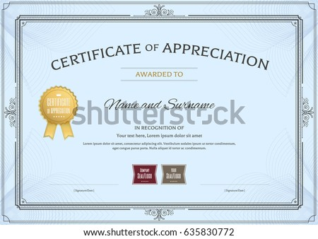Certificate appreciation template award ribbon vintage stock vector certificate of appreciation template with award ribbon and vintage border yelopaper Choice Image