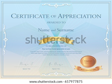 Certificate appreciation template award ribbon on stock vector certificate of appreciation template with award ribbon on abstract guilloche background with vintage border style yadclub Images