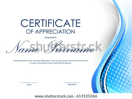 Certificate appreciation template light red digital stock vector certificate of appreciation template with blue dynamic curved wavy background vector illustration yadclub Gallery