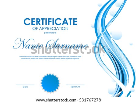 Certificate appreciation template blue futuristic dynamic stock certificate of appreciation template with blue futuristic dynamic curved wavy background vector illustration yelopaper Images