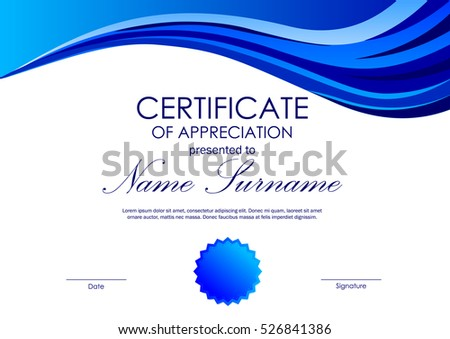 Certificate Achievement Template Dynamic Blue Wavy Stock Vector ...