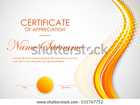 Certificate completion template digital vivid orange stock vector certificate of appreciation template with digital dynamic orange wavy background and seal vector illustration yadclub Images