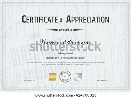 Certificate of appreciation stock images royalty free images certificate of appreciation template with grey wooden background in vector yelopaper Gallery