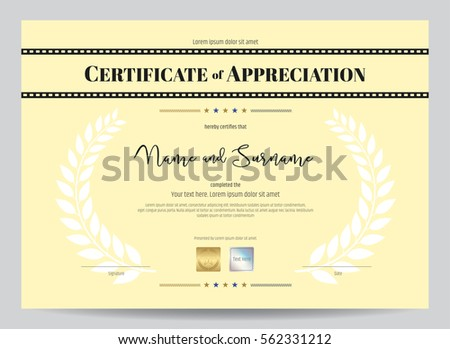 Certificate appreciation template movie film stripe stock vector certificate of appreciation template with movie film stripe header and award laurel crest yelopaper Image collections