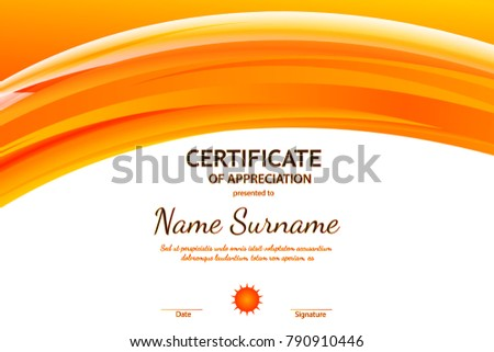 Certificate completion template orange dynamic wavy stock vector certificate of appreciation template with orange dynamic wavy light background yadclub Images