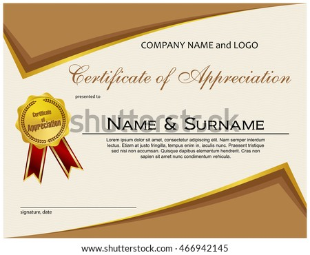 Certificate appreciation medal ribbon stock vector 466942145 certificate of appreciation with medal and ribbon yadclub Images