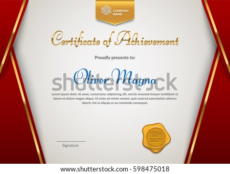 Certificate Of Appreciation With Seal Badge Template. Red And Gold Colors.  Premium Diploma Design