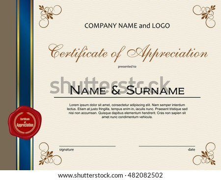 Certificate appreciation wax seal ribbon stock vector 482082502 certificate of appreciation with wax seal and ribbon yadclub Images