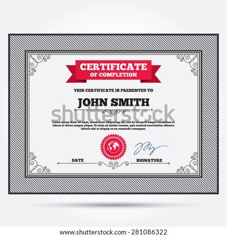 Certificate Template Design Vector 299386541 Shutterstock – Travel Certificate Template