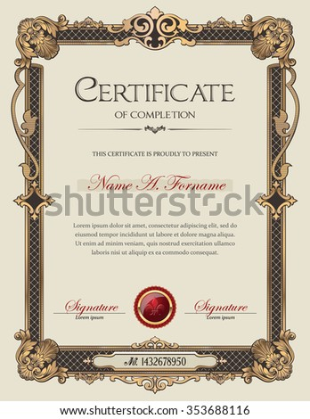 Certificate of Completion Portrait with Antique Vintage Ornament Frame  - stock vector