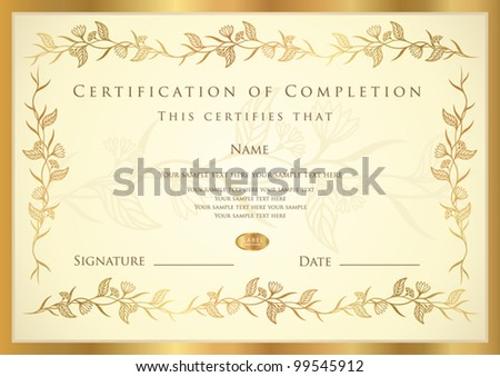 Certificate completion template diploma stock vector 99545912 certificate of completion template diploma yelopaper Images