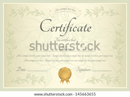Certificate completion template sample background floral stock certificate of completion template or sample background with floral pattern green frame and yadclub Choice Image