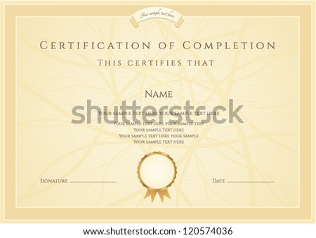 Certificate of completion template. Vector - stock vector