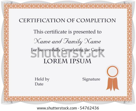Certificate Of Completion Template; Vector Format  Certificate Of Completion Sample