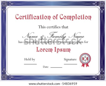Certificate of Completion Template; Vector Format - stock vector
